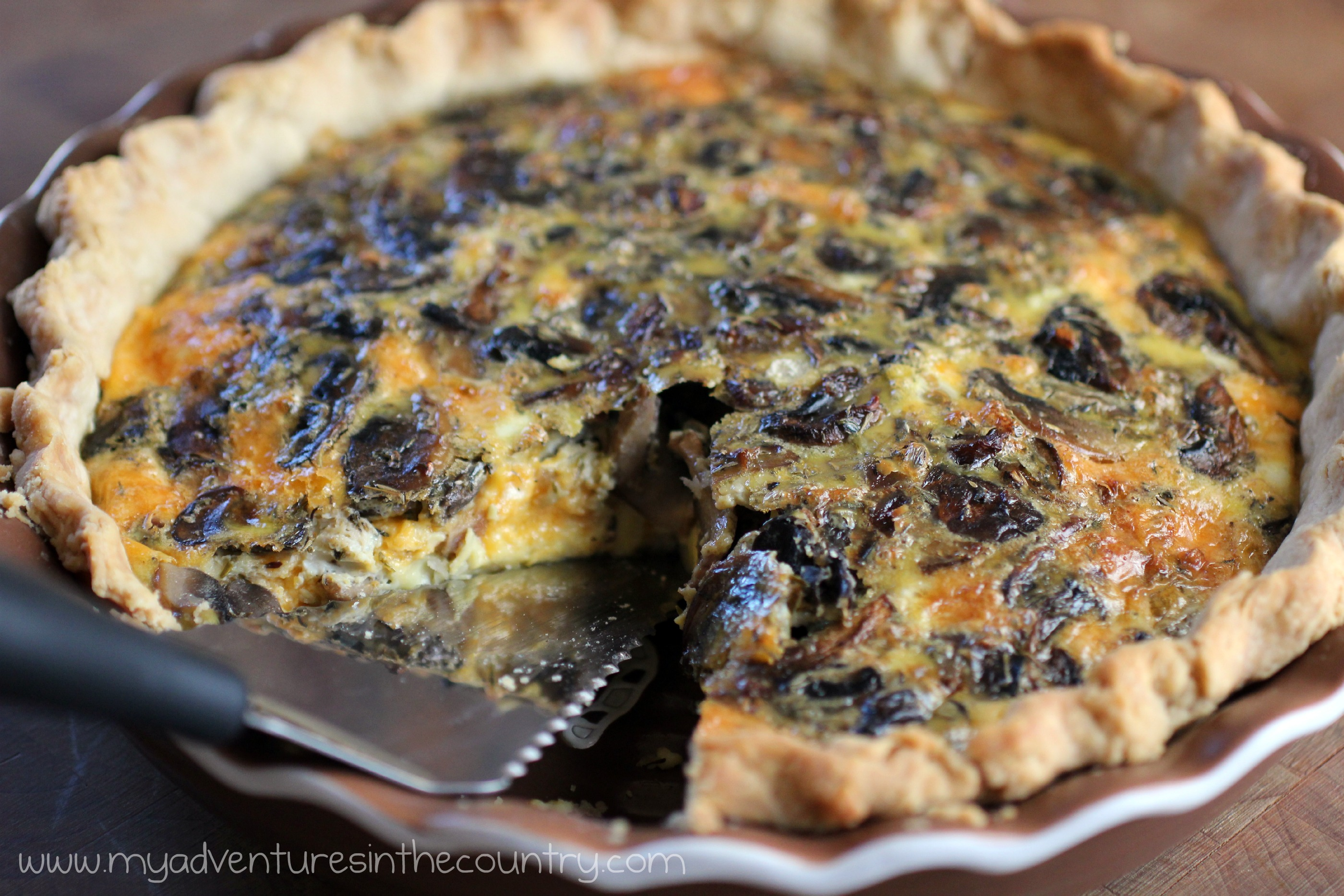 Mushroom and Cheddar Quiche for the Kitchen Bootcamp Challenge