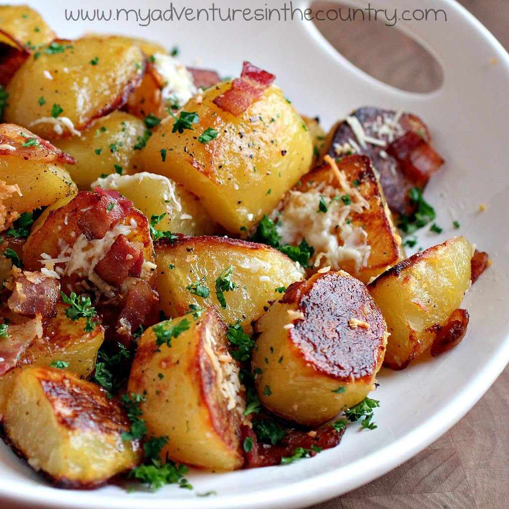 Cheesey bacon oven roasted potatoes